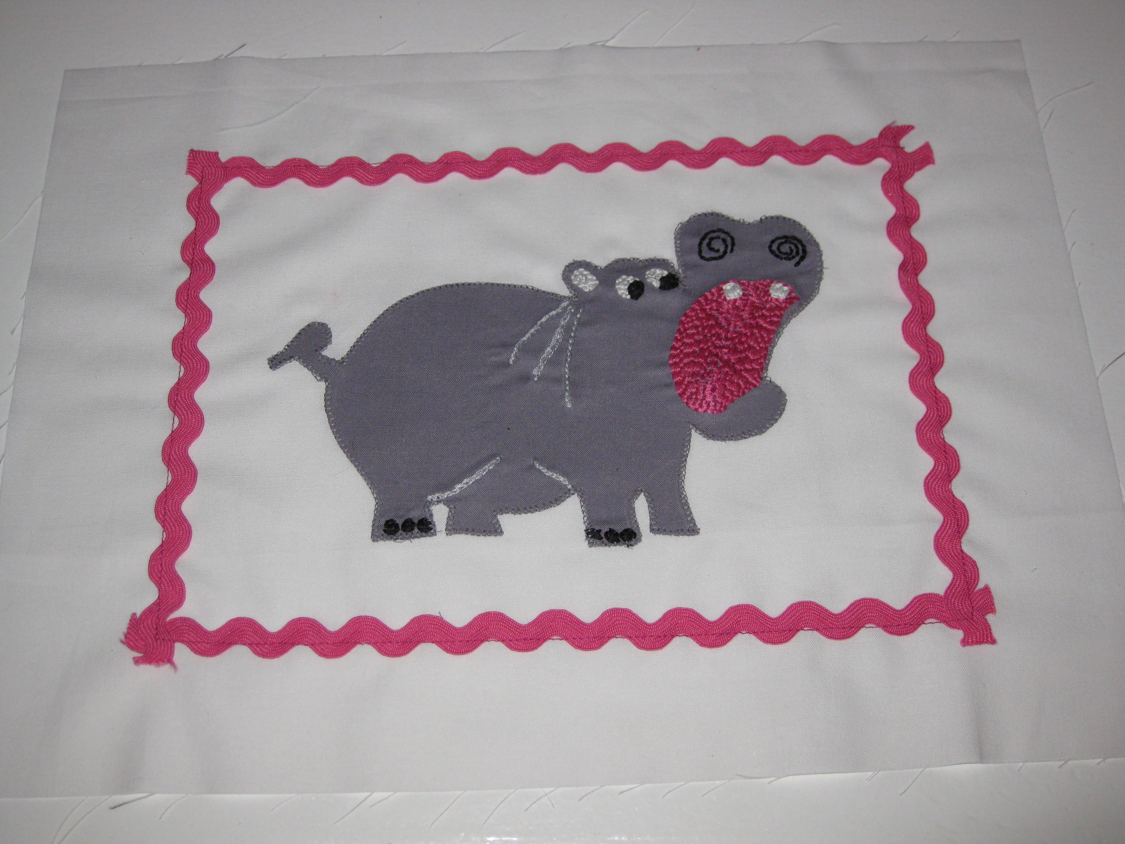 Hippo pillow - machine stitch applique - Syrup